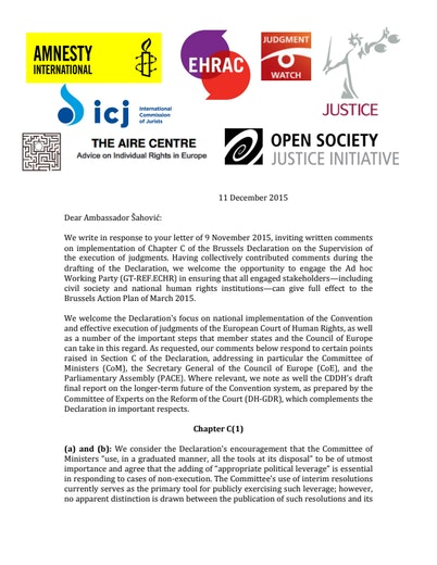First page of PDF with filename: joint-letter-brussels-declaration-20151211.pdf