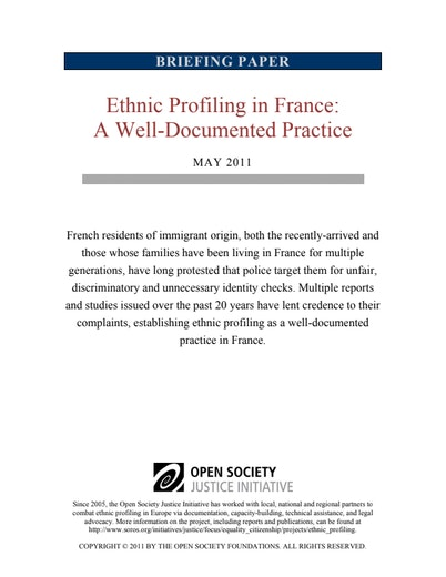 First page of PDF with filename: ethnic-profiling-in-france-a-well-documented-practice-english-2011-05-23.pdf