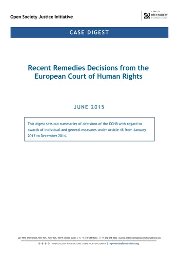 First page of PDF with filename: case-digests-echr-remedies-2013-2014-20150708.pdf