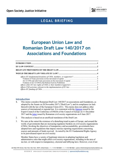 First page of PDF with filename: romania-legal-briefing-20180205.pdf