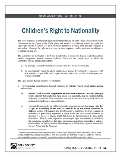 First page of PDF with filename: children-right-nationality-20110202.pdf