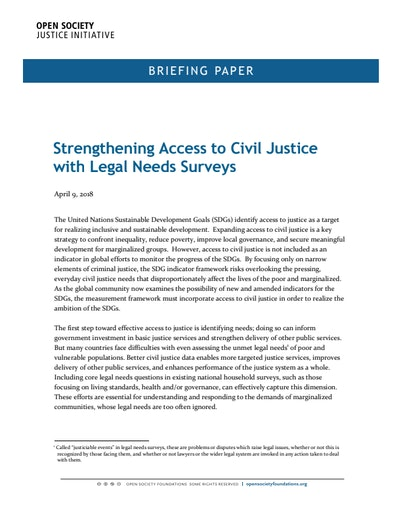 First page of PDF with filename: strengthening-access-to-civil-justice-with-legal-needs-surveys-20180628.pdf