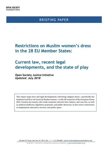 First page of PDF with filename: restrictions-on-muslim-womens-dress-in-28-eu-member-states-20180709.pdf