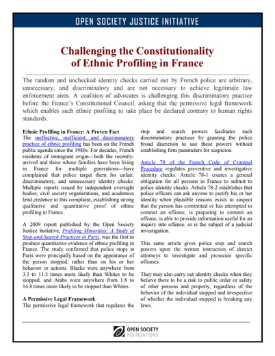 First page of PDF with filename: challenging-the-constitutionality-of-ethnic-profiling-in-france-20110523_0.pdf