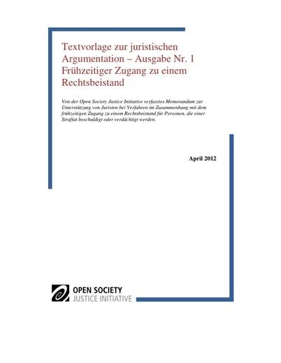 First page of PDF with filename: textvorlage-zur-juristischen-argumentation-frühzeitiger-zugang-zu-einem-rechtsbeistand-20120531.pdf