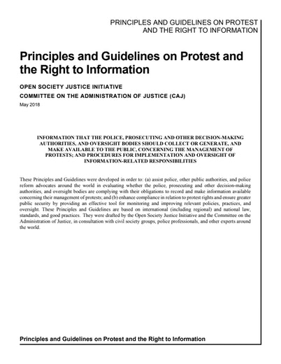 First page of PDF with filename: Principles-and-Guidelines-on-Protest-20191210.pdf