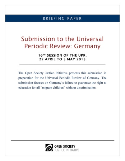 First page of PDF with filename: universal-periodic-review-germany-16-session-upr-20130726.pdf